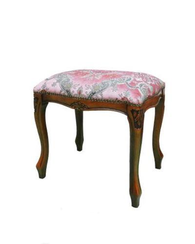 優雅な表情が魅力の金華山織イタリア製スツール(ピンク)ヨーロピアン 猫脚 椅子 補助椅子 布張り 豪華 エレガント 彫り 角型 便利 コンパクト
