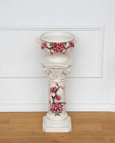 ローズモチーフのクラシカルなコラム付プランター(レッド/陶器) イタリア製 玄関 飾り フラワーベース コラム お洒落 薔薇 飾り インテリア
