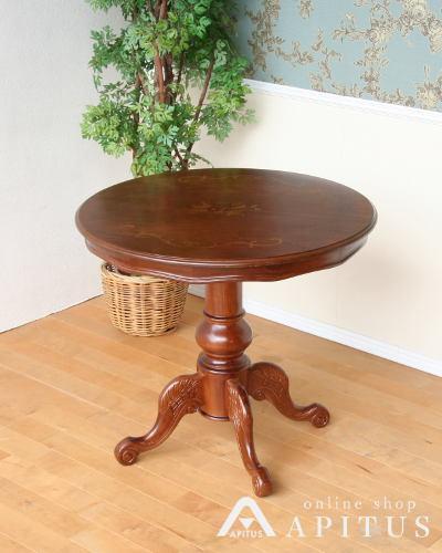 上品な象嵌細工を天板に施した丸型のダイニングテーブル(イタリア製) 直径80センチ ラウンド コーヒーテーブル 2人用 ヨーロピアン 猫脚 お洒落 高級 クラシック