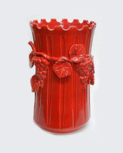 イタリアンレッドが素敵なぶどうモチーフの傘立て(陶器) 玄関 収納 インテリア 赤 葡萄 ヨーロッパ お洒落 輸入 店舗 エレガント 装飾 デザイン