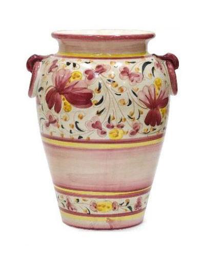 華やかな色彩がイタリア製らしいツボ型の傘立て(陶器) 玄関 収納 ヨーロピアン ハンドメイド お洒落 インテリア ピンク フラワー カントリー 可愛い