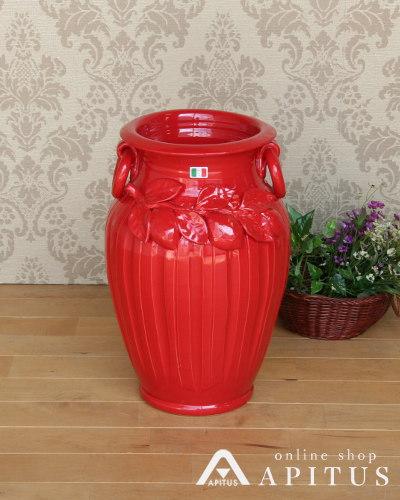 イタリアンレッドが素敵なレモンモチーフの傘立て(陶器) アンブレラスタンド ヨーロッパ 玄関 収納 お洒落 赤 輸入 インテリア デザイン つぼ
