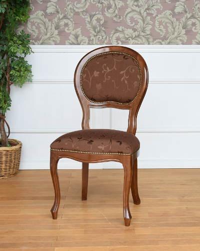 草花をモチーフにした柄が上品なダイニングチェア(イタリア製) 椅子 ヨーロピアン シンプル 布張り 木製 お洒落 輸入 クラシック家具 猫脚 インテリア