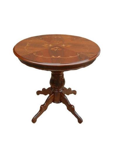 2人掛けに丁度良いサイズのイタリア製丸型ダイニングテーブル(直径80cm) ラウンド 木製 象嵌細工 クラシック家具 高級 エレガント ティーテーブル お洒落