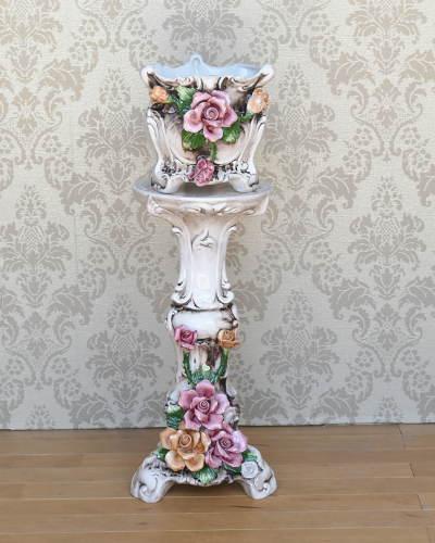 バラ陶花付きプランターコラム(イタリア製) 玄関 飾り 鉢カバー 手造り ヨーロピアン アンティーク調 バロック調 インテリア リビング オブジェ