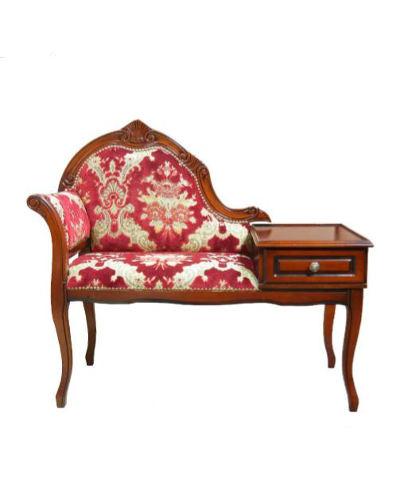 金華山織りが豪華なイタリア製テレフォンチェア(レッド) 椅子 リビング 電話台 猫脚 お洒落 収納 ヨーロピアン 飾り椅子 インテリア 引出し クラシック家具