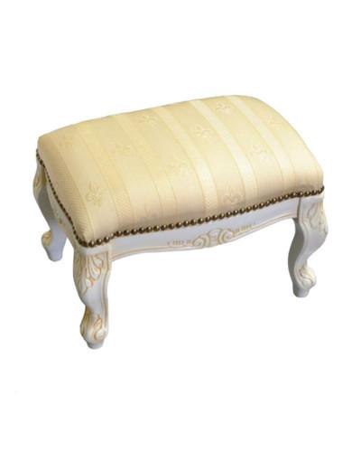 アンティークホワイト仕上げ、布張りフットスツール(ベージュ) ヨーロピアン クラシック家具 玄関 リビング 補助椅子 コンパクト お洒落 便利 輸入 フットスツール