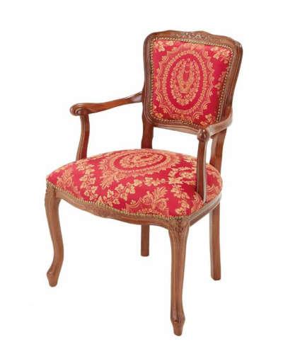 サロン用アームチェア(イタリア製/レッド) 1人掛け 椅子 布張り ソファ ヨーロピアン 猫脚 肘付き 豪華 インテリア お洒落 輸入 デザイン 彫り リビング 玄関