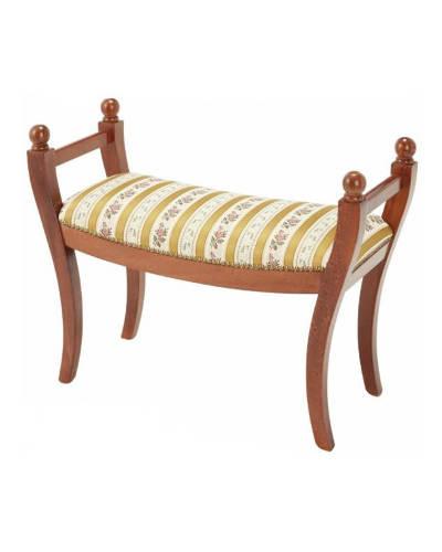 イタリア製らしいストライプ柄が素敵な肘付きスツール(イエロー) 椅子 リビング 布張り ベンチ ヨーロピアン お洒落 インテリア アーム付き エレガント 輸入 デザイン