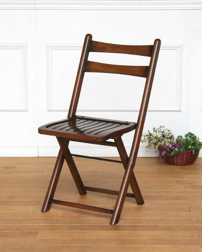 折りたたみ式ダイニングチェア(オーク材) 補助椅子 木製 板座 英国スタイル アンティーク調 便利 コンパクト お洒落 輸入家具 ブラウン インテリア デザイン