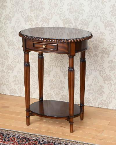 天板のデザインが上品な楕円形テーブル(マホガニー材) サイドテーブル 花台 アンティーク調 重厚 木製 お洒落 クラシック家具 輸入 ヨーロピアン