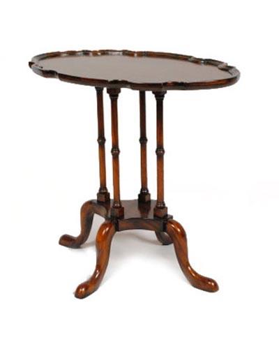 変型天板コーヒーテーブル(アンティーク調) 輸入家具 ランプテーブル ワインテーブル クラシカル ヨーロピアン お洒落 マホガニー材
