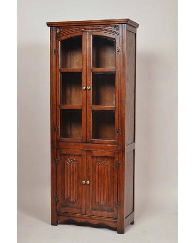 カップボード 食器棚 本棚 アンティーク風家具 オーク材 重厚 英国スタイル リビング 木製 インテリア お洒落 デザイン 輸入 収納 ダークブラウン