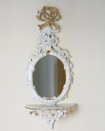 壁掛けミラー付きコンソールテーブル(ホワイト) ウォール イタリア製 ロココ デコラティブ アンティーク調 おしゃれ 飾り棚 鏡 インテリア クラシック 輸入 デザイン
