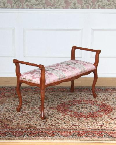 エレガントな布地のイタリア製2人掛け肘付きベンチ(ピンク) 布張り 玄関 クラシック 猫脚 椅子 2P ヨーロッパ お洒落 高級