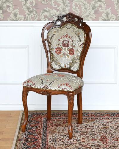 イタリア製のダイニングチェア(鏡面/金華山張りホワイト) クラシック家具 ヨーロピアン デコラティブ 艶有り お洒落 高級 エレガント 椅子 1人掛け