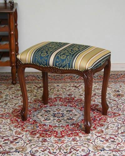 布張りイタリア製スツール(猫脚/ストライプブルー) 玄関 椅子 ヨーロピアン クラシック家具 お洒落 便利 コンパクト 彫り 高級 イタリア製 デザイン