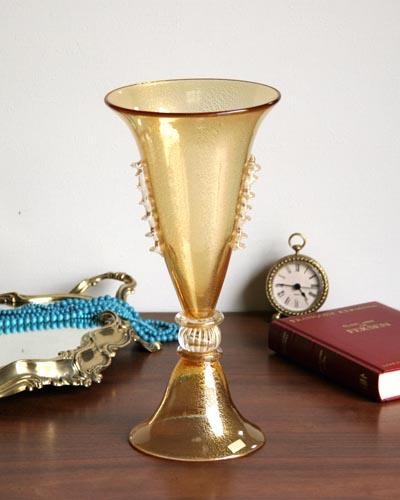 ガラス花瓶(ムラノガラス/ゴールド)