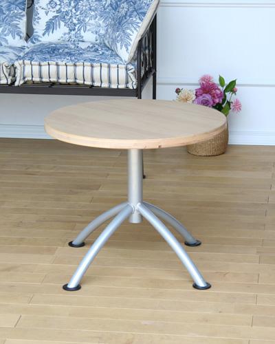 北欧スタイルのナチュラルな丸型サイドテーブル リビングテーブル お洒落 輸入家具 インテリア シンプル 白木 60センチ スチール