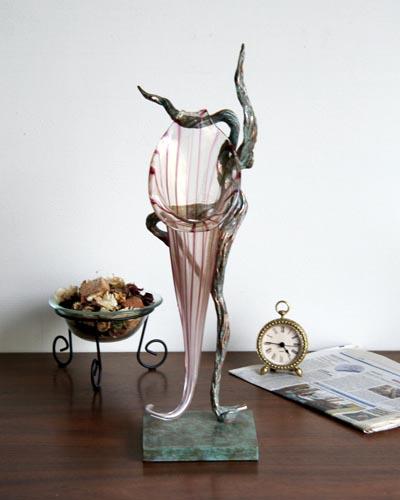 ブロンズ花瓶(イタリア製)