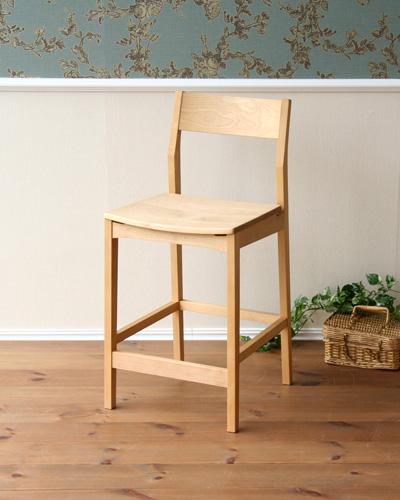 天然木を使ったスタイリッシュなカウンターチェア(バーチ材) 無垢材 手造り 木製 オイル塗装 温か味 ナチュラル インテリア お洒落 椅子 キッチン