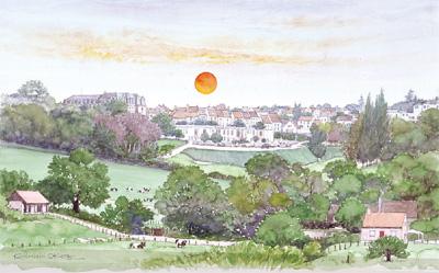 好評受付中 奥津 国道 絵画 アート 海外の風景 使い勝手の良い べレムの日の出 版画