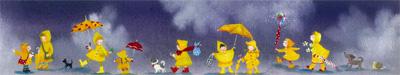 横山 真弥 絵画・アート(版画)/黄色のレインコート みんなでお出かけ/メルヘン