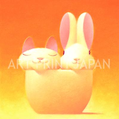 渡辺 宏 絵画・アート(版画)/いつも二人/動物