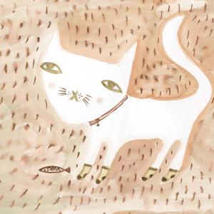 ドナ・ウィルソン 絵画・アート(版画)/cat in socks(靴下を穿いたネコ)/ねこ・ネコ・猫