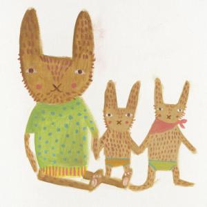 ドナ・ウィルソン 絵画・アート(版画)/easter bunny and family(イースター・バニーの家族)/動物