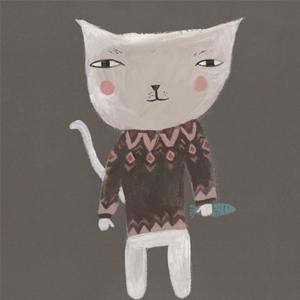 ドナ・ウィルソン 絵画・アート(版画)/fairisle puss(フェアアイルのセーターを着たネコ)/ねこ・ネコ・猫