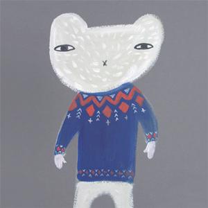 ドナ・ウィルソン 絵画・アート(版画)/white bear fairisle(フェアアイルのセーターを着た白クマ)/動物