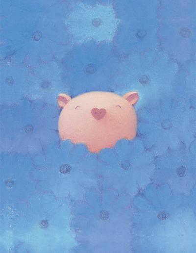 渡辺 宏 絵画 アート ハイクオリティ 豚 ブタ 青色の天使 版画 低価格化