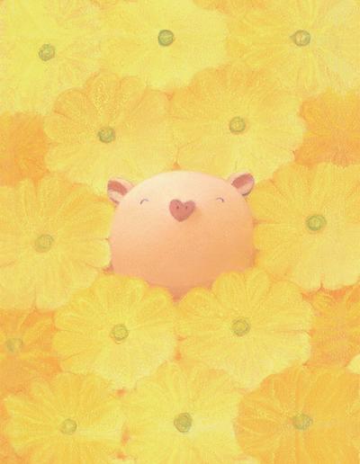 渡辺 宏 絵画・アート(版画)/花色の天使/ブタ・豚