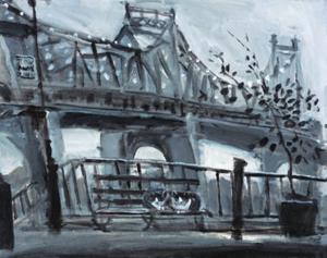 久下 貴史 絵画・アート(版画)/ウッディ・アレンのマンハッタンに捧げるクィーンズボロ・ブリッジ/ねこ・ネコ・猫