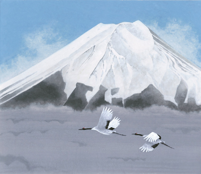 井上 清冶 絵画・アート(版画)/翔鶴/富士山/日本の風景