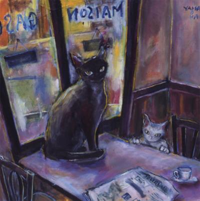 山岡康子 絵画・アート(版画)/カフェの昼下がり/ねこ・ネコ・猫