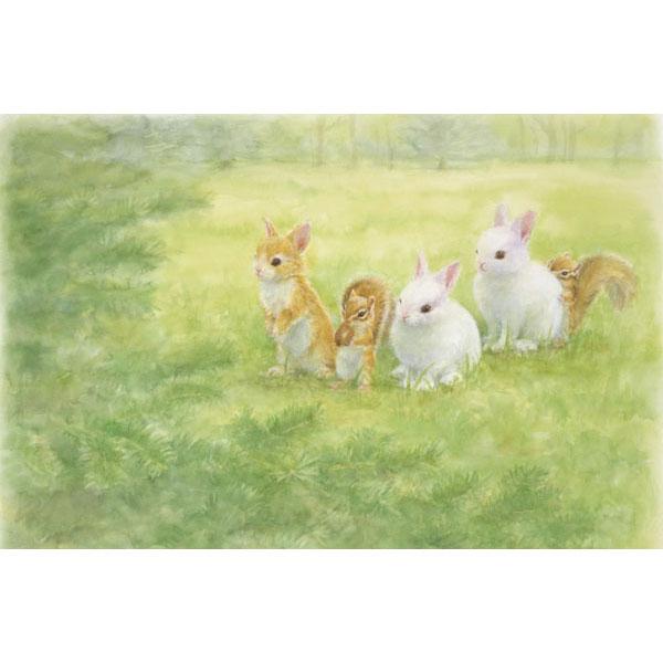 土田穣 絵画・アート(版画)/森とお話し/ウサギ・うさぎ