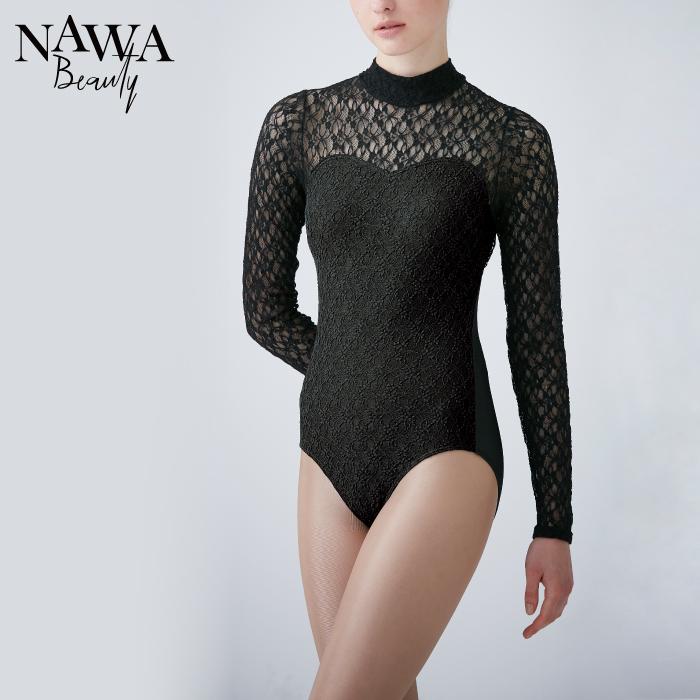 NAWA NAWAbeauty(ナワビューティ) B.レース長袖レオタード 健康体操 ダンス ファッション M/L ブラック