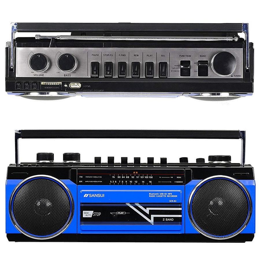 <title>80's デザイン アナログとデジタルの融合 iPhone Android など スマホ対応 SANSUI サンスイ SCR-B2 ブルー BL カセットテープレコーダー 安売り レトロデザイン Bluetooth MP3 対応 ラジカセ R</title>