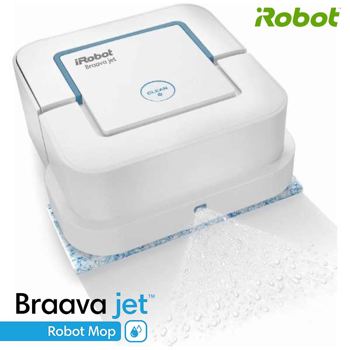 ジェットスプレーで汚れを浮かび上がらせます iRobot ブラーバ ジェット 240 アイロボット 床拭きロボット 水拭き から拭き ホワイト B240060 ロボット掃除機 ルンバ Braava Jetet (SN)