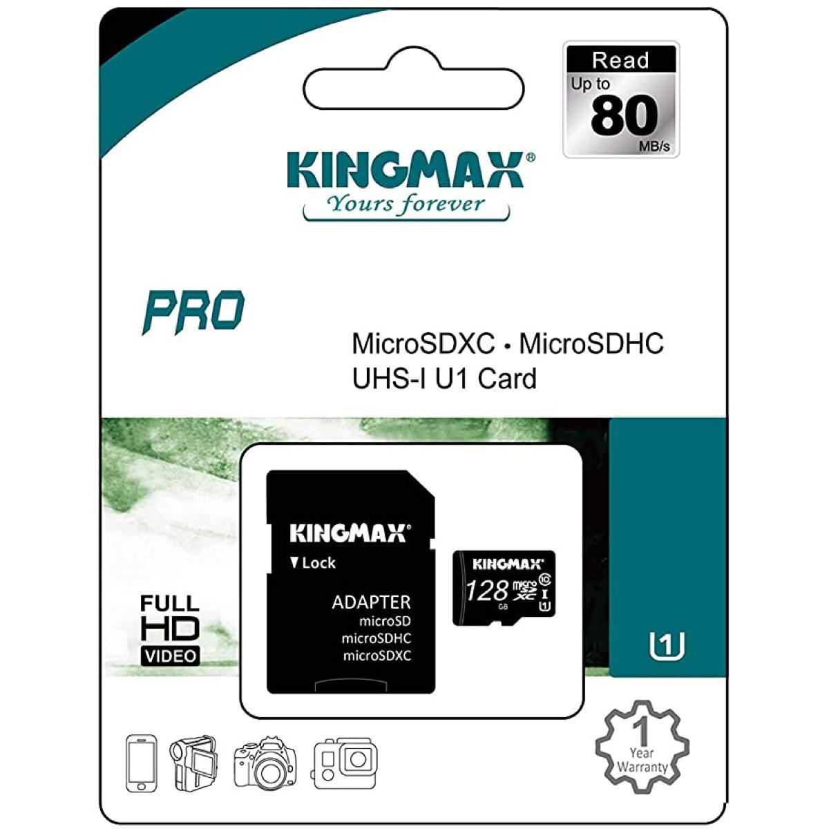 UHS-I マート 高速転送 最大読出し80MB 秒 SD変換アダプター付属 KINGMAX PRO microSDXCカード 128GB Class10 SD変換アダプタ付属 U1 マイクロSD 1年保証 キングマックス KM128GMCSDUHSP1A-1 KM 全国送料無料 国内正規品 卓出 1C micro