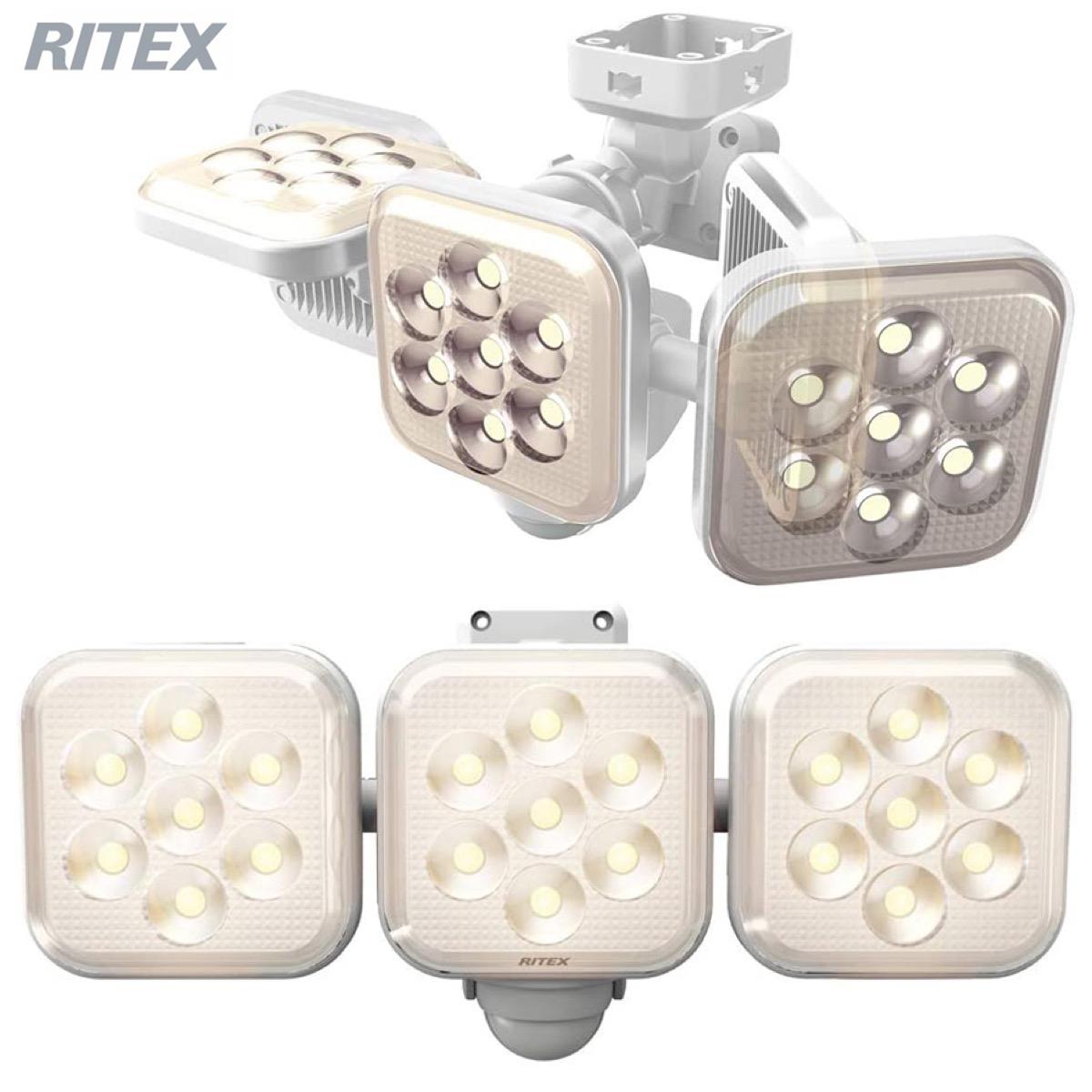 ムサシ RITEX LED-AC3025 センサーライト ホワイト 3灯フリーアーム式 LED 電球色 コンセント式 常夜灯 防雨型 MUSASHI ライテックス (F