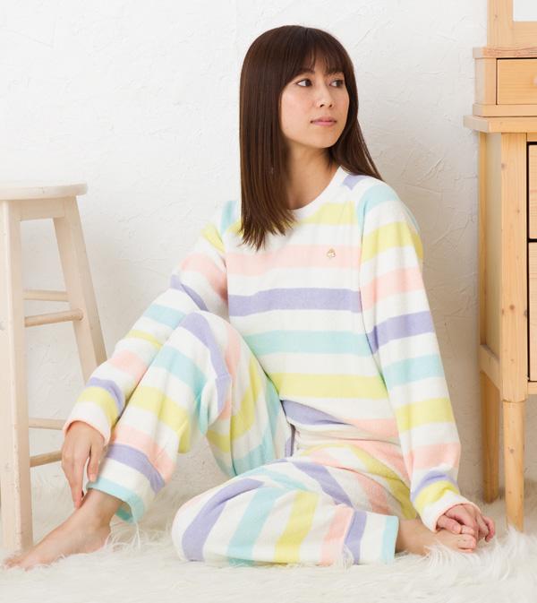 ワコール ツモリチサト パジャマ 部屋着 tsumori chisato SLEEP両面パイル裏起毛ボーダーUDR400ツモリチサトスリープ ナイティ