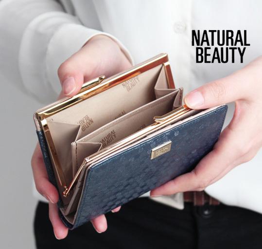 ナチュラルビューティー 財布 NATURAL BEAUTY シャイニードット がま口二つ折り財布 70022