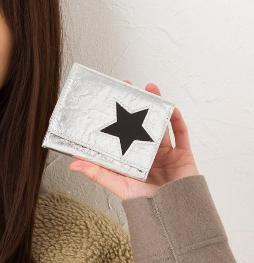 1metre carre アンメートルキャレ サイフ 牛革箔型押し 星型抜きミニ財布 SI30742