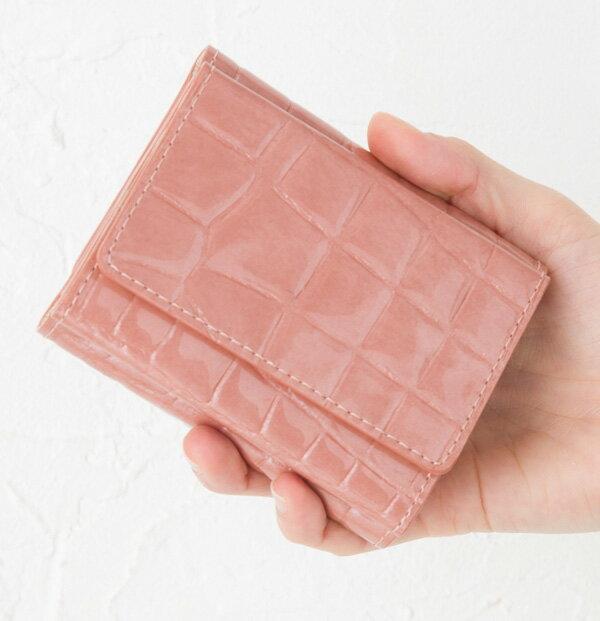 1metre carre アンメートルキャレ サイフ クロコ型押しエナメル 三つ折りミニ財布 AE30722