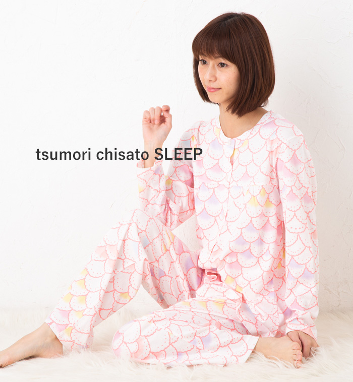 ツモリチサトスリープ パジャマ ルームウェア 部屋着 40/2天竺ptカラフルスカラップ UDQ118tsumori chisato SLEEP