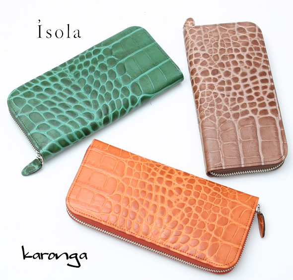 Isola アイソラ 財布 サイフ カロンガ クロコ型押しラウンド長財布 6420