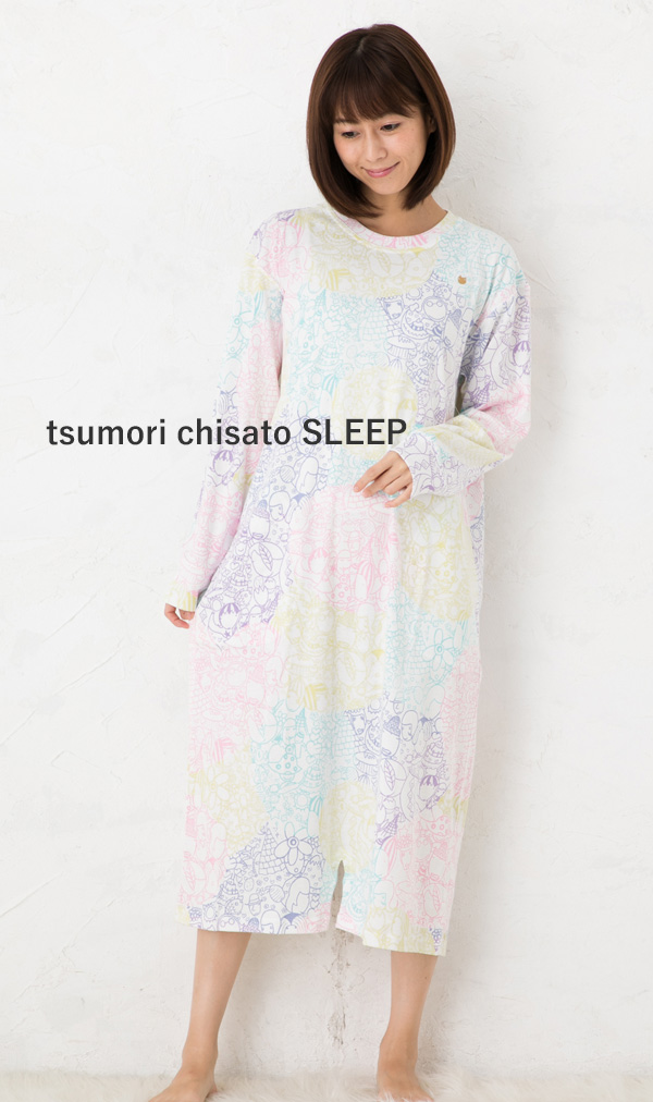 ツモリチサトスリープ パジャマ ルームウェア 部屋着 30フライスpt世界のなかま ワンピース UNQ223tsumori chisato SLEEP